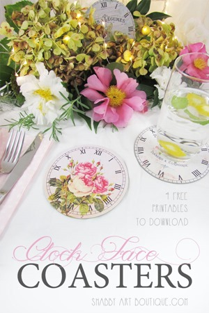 Clock Face Coasters - free printable from Shabby Art Boutique