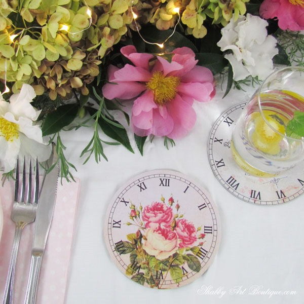 Clock Face Coasters - 4 free printable shabby & cottage clock faces from Shabby Art Boutique. Click to see tutorial and download graphics or pin for later.