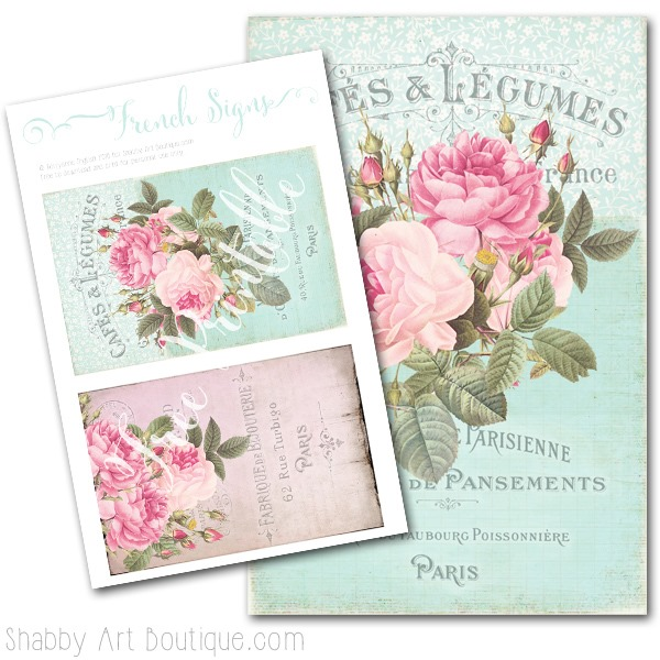 Free printable - French Signs - designed by Kerryanne English for Shabby Art Boutique