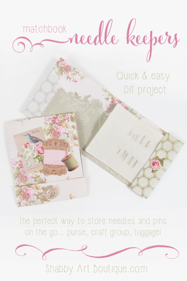 Matchbook needle keepers tutorial by Shabby Art Boutique