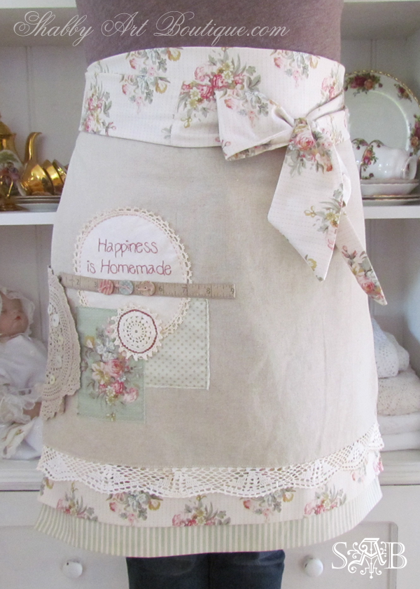 How to make altered vintage aprons with free patterns. Click now for tutorial or pin for later - Shabby Art Boutique