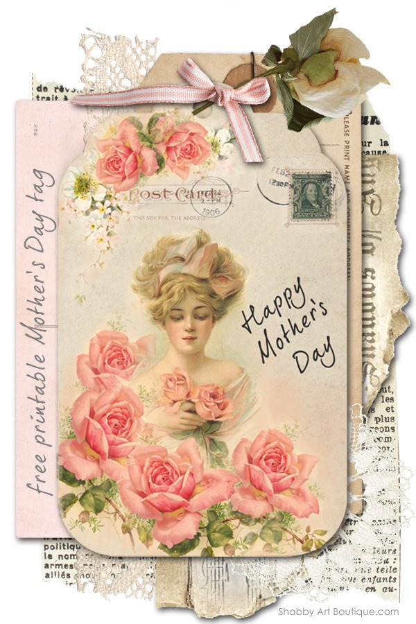 Shabby Art Boutique - free printable Mother's Day tag