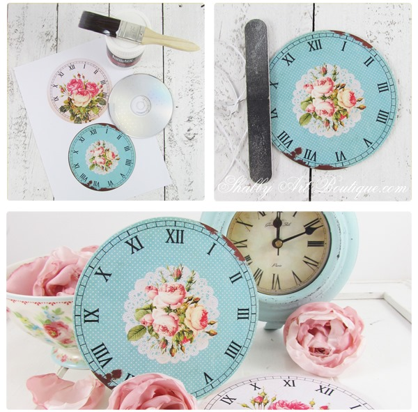 how to mount shabby clockfaces on CDs by Shabby Art Boutique