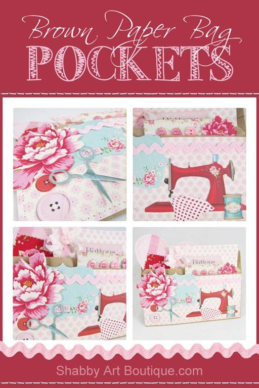 DIY - Shabby Brown Paper Bag Pockets - Shabby Art Boutique