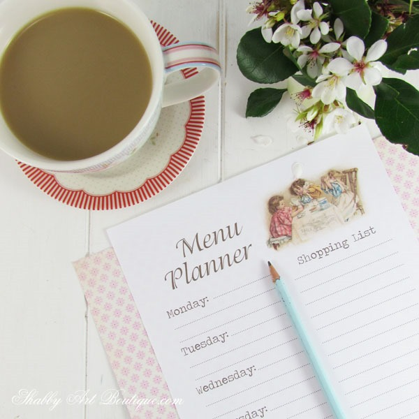Free printable menu planner from Shabby Art Boutique. Click now for instant download or pin for later.