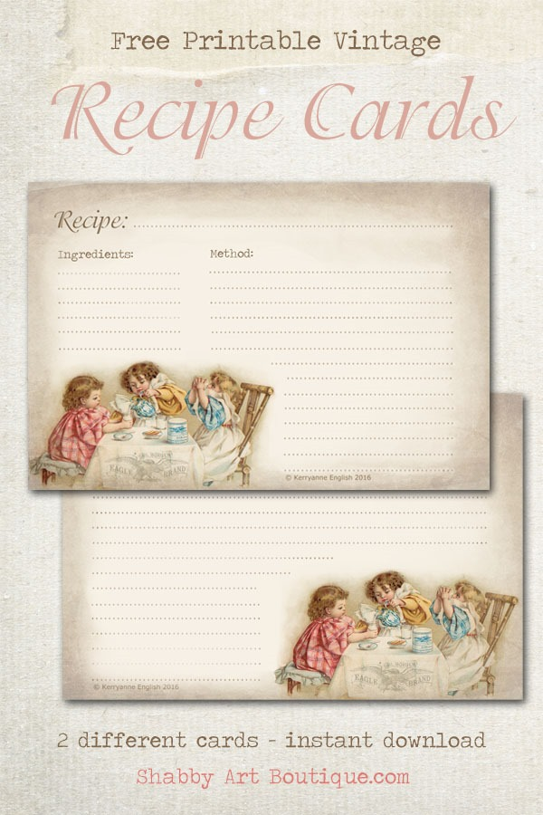 Free printable vintage recipe cards to download from Shabby Art Boutique. Click now for instand download or pin for later.
