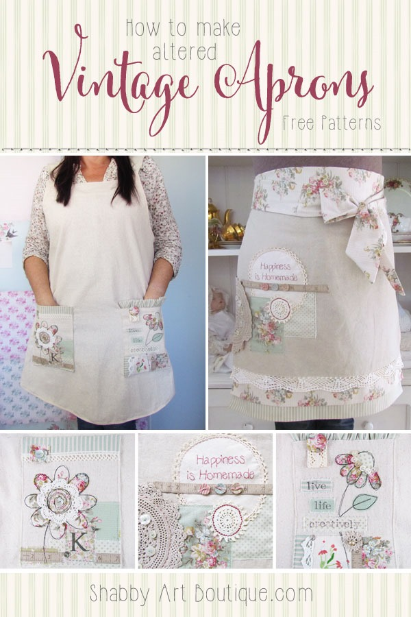 How to make altered vintage aprons with free patterns - Shabby Art Boutique