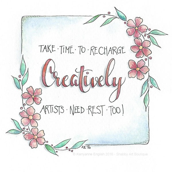 Pen and wash quote by Kerryanne English for Shabby Art Boutique