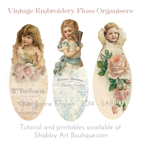 Shabby Art Boutique -free printables for Embroidery Floss Organsiers. Click now for full tutorial or pin for later