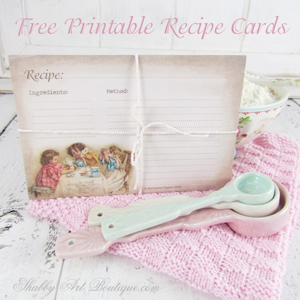 Free printable recipe cards and menu planner from Shabby Art Boutique. Click now for instant download or pin for later