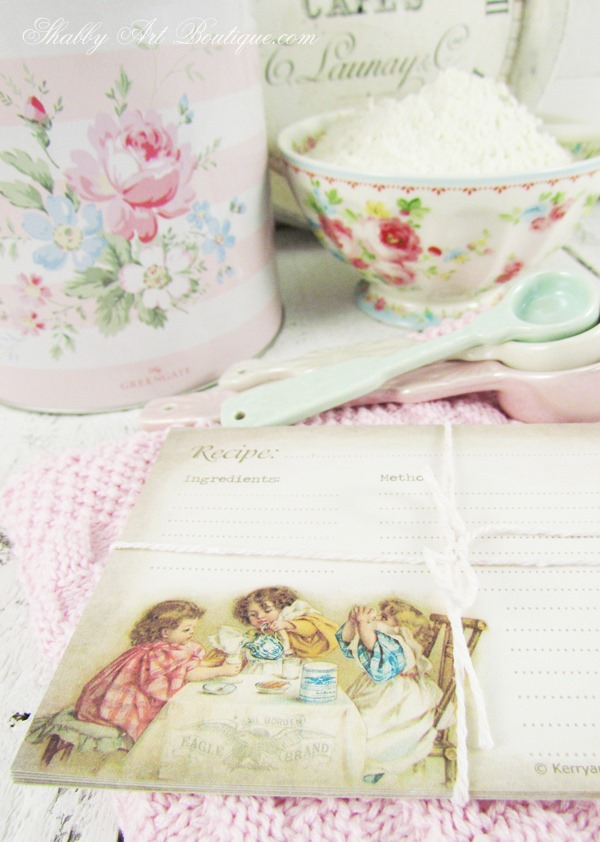 Free printable vintage recipe cards from Shabby Art Boutique. Click to download instantly or pin for later.