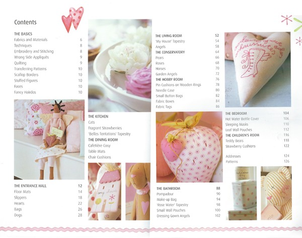 Contents page of Sew Pretty Homestyle by Tone Finnanger
