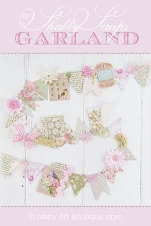 DIY Shabby Scraps Bunting Garland by Shabby Art Boutique. Click for tutorial or PIN for later.