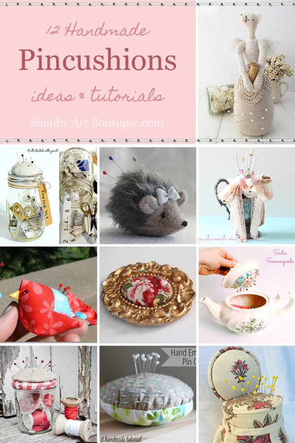 12 Handmade pincushion ideas and tutorials featured on Shabby Art Boutique. PIN for later or click to read now.