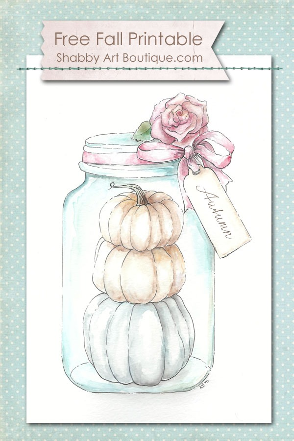 """Free 8"""" x 10"""" fall watercolor printable to download from Shabby Art Boutique. Click to download now or PIN for later."""