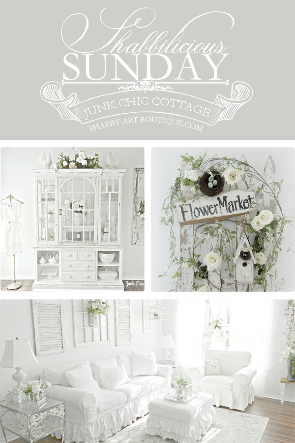 Shabbilicious Sunday visits  Junk Chic Cottage. You will enjoy Kris' beautiful cottage style that uses a serene colour palette of light gray's, creams and white. Extensive use of lovely old architectual pieces are used throughout the cottage. Click now to take the home tour or PIN for later.