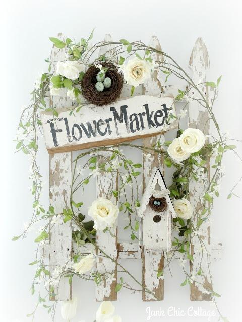 flower market sign picket