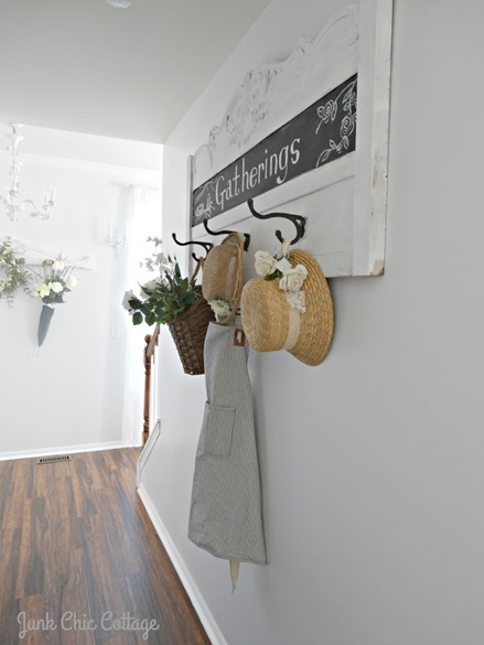 Shabbilicious Sunday visits  Junk Chic Cottage. You will enjoy Kris' beautiful cottage style in a serene colour palette of light gray's, creams and white. Extensive use of lovely old architectual pieces  are used throughout the cottage. Click now to take the home tour or PIN for later