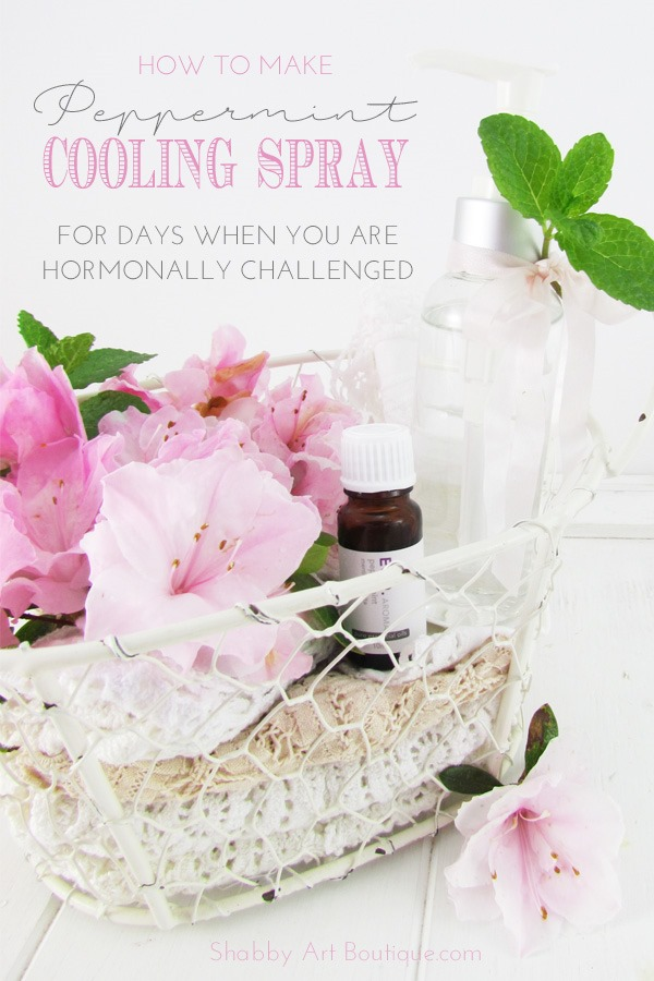DIY - Peppermint cooling spray for days when you are hormonally challenged. Easy recipe with just 2 ingredients. Click now to get the tutorial from Shabby Art Boutique or PIN for later.