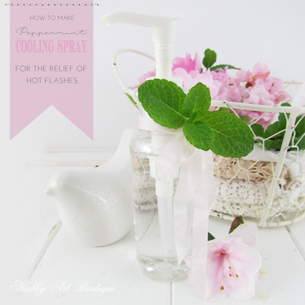 How to make peppermint cooling spray for hot flashes by Shabby Art Boutique