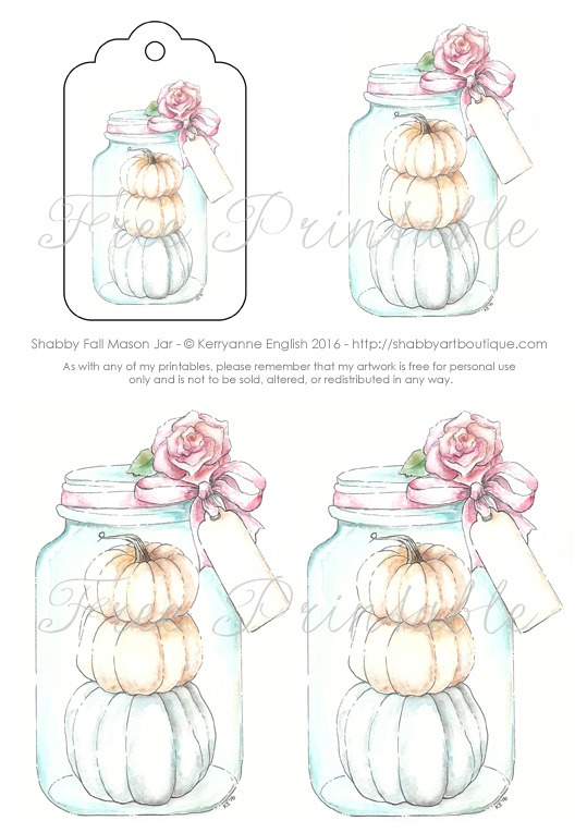 Free printable fall mason Jar sheet from Shabby Art Boutique