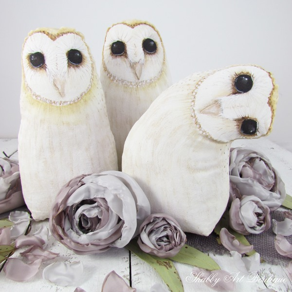 New design by Kerryann English - handpainted fabric Barn Owls. So pretty for fall and winter decorating!