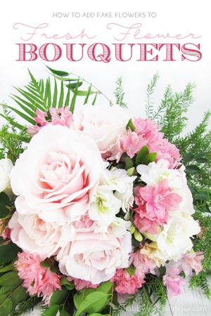 How to add fake flowers to  fresh flower bouquets