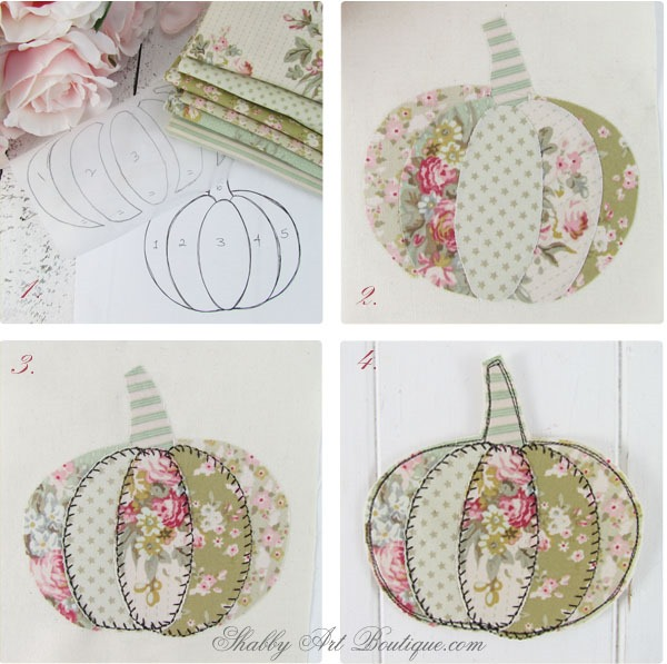 Easy tutorial for making faux patchwork pumpkin coasters. Full step-by-step instructions and template. Finished project in less than an hour. Click now to get full tutorial for Shabby Art Boutique or PIN for later