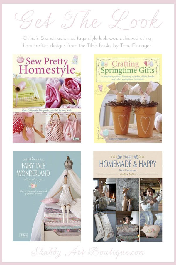 Get the Scandinavian cottage style look achieved by Olivia of Handmade By Nimoeh. Tilda books available from this link.