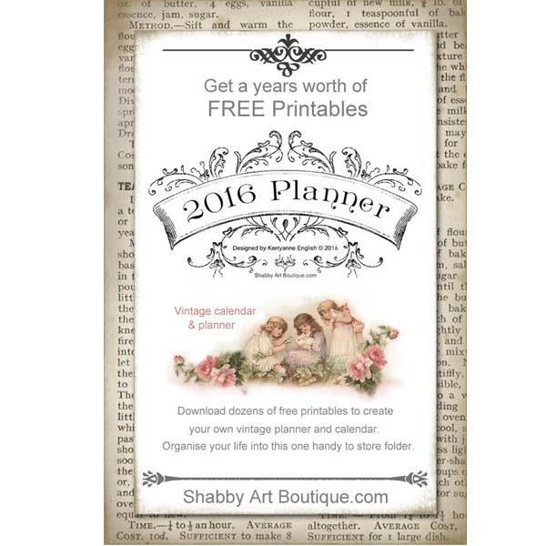 Shabby Art Boutique has a years worth of free printables for their 2016 vintage planner and calendar. Download dozens of free printables to create your own planner and organise your life into one handy to store folder.