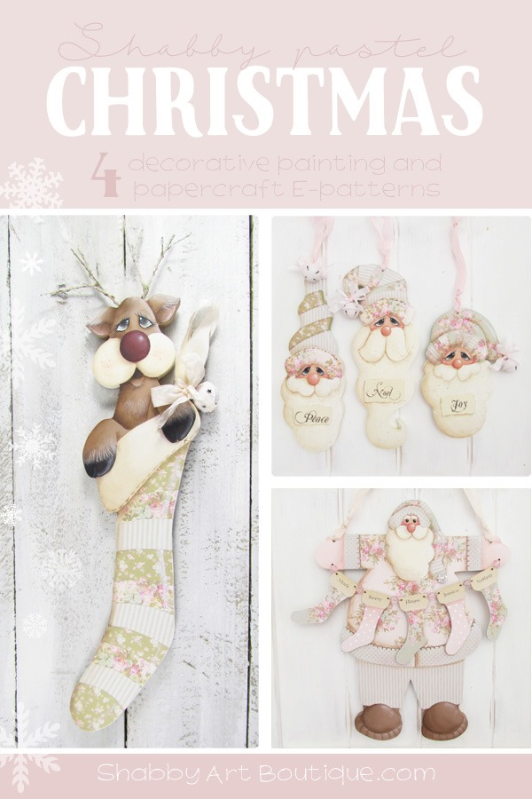 If you love a shabby pastel Christmas, check out these fabulous E-patterns from Shabby Art Boutique. Using a combination of both decorative painting and papercraft techniques, you can create beautiful handmade Christmas decorations to decorate your home or give as gifts.