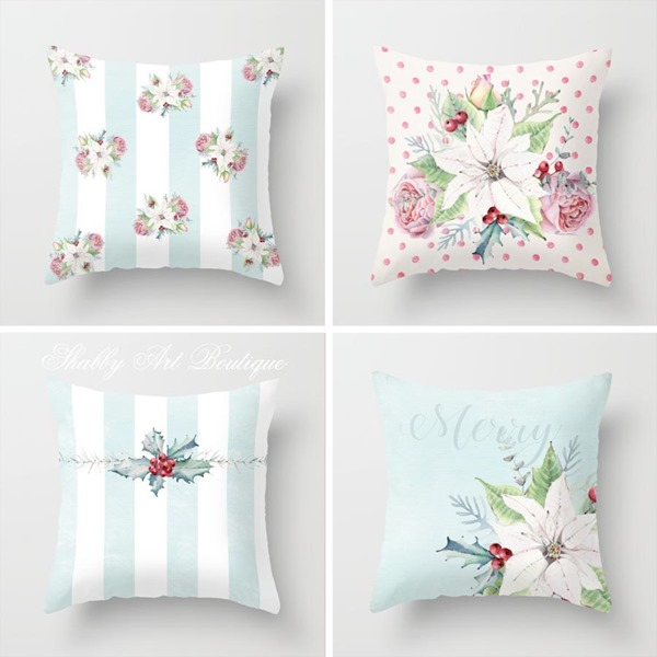 New Christmas pillow designs in my Society6 shop at https://society6.com/shabbyartboutique