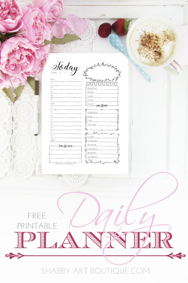 This daily planner worksheet is a free printable from Shabby Art Boutique. It specifically allocates blocks for shcedules, a positive affirmation, food and water intake, meditation/yoga and exercise and online needs. Perfect daily planner for mind, body and soul. Laminate and reuse every day with a whiteboard marker. Visit Shabby Art Boutique to download this free printable.
