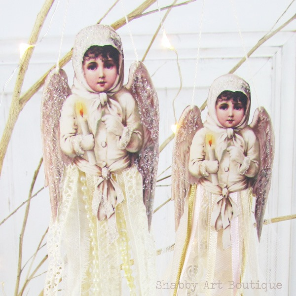 Quick and easy to make Victorian Ribbon Angels. Get ther free printabel and tutorial at Shabby Art Boutique or Pin for later.
