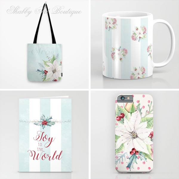 Lots of gift giving options with 5 new Christmas designs in my Society6 shop at https://society6.com/shabbyartboutique
