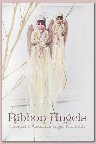 Ribbon Angel Ornaments with free tutorial and Victorian Angel printable