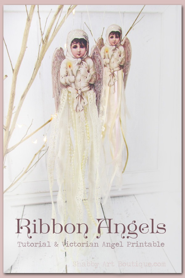 Ribbon Angel Ornaments with free tutorial and Victorian Angel printable. Click to download or PIN for later.
