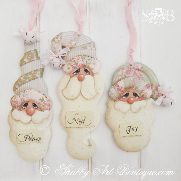 If you love a shabby pastel Christmas, check out these gorgoeus shabby vintage Santa E-patterns from Shabby Art Boutique. Using a combination of both decorative painting and papercraft techniques, you can create beautiful handmade Christmas decorations to decorate your home or give as gifts