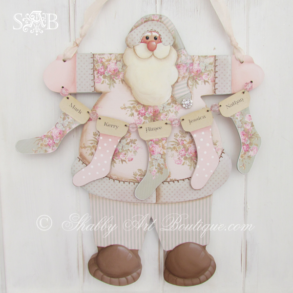 If you love a shabby pastel Christmas, check out this gorgeous Shabby Santa with stockings E-patterns from Shabby Art Boutique. Using a combination of both decorative painting and papercraft techniques, you can create beautiful handmade Christmas decorations to decorate your home or give as gifts