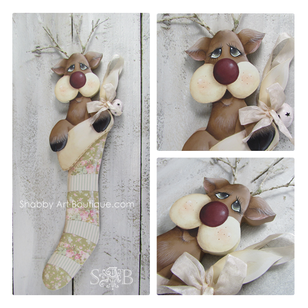 If you love a shabby pastel Christmas, check out this sweet shabby reindeer and stocking E-patterns from Shabby Art Boutique. Using a combination of both decorative painting and papercraft techniques, you can create beautiful handmade Christmas decorations to decorate your home or give as gifts