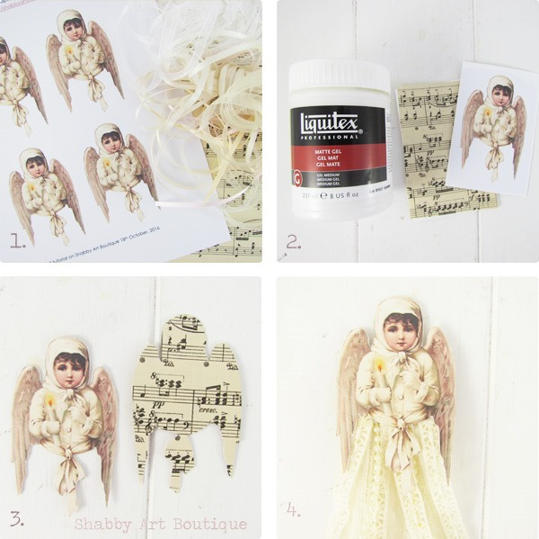 Tutorial for making Victorian Ribbon Angel Ornament by Shabby Art Boutique