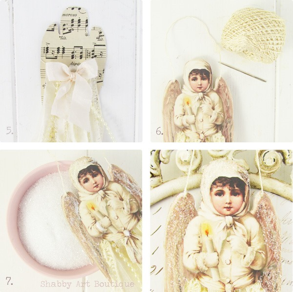 Tutorial for making Victorian Ribbon Angel Ornaments by Shabby Art Boutique