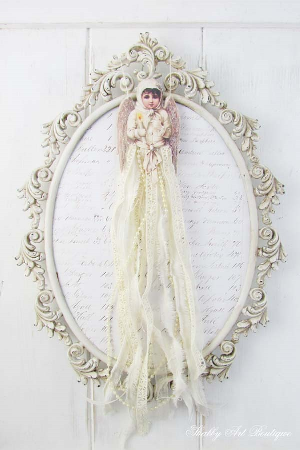 Victorian Ribbon Angel Ornament by Shabby Art Boutique. Click now for full instructions and free printabel graphic or PIN for use later.