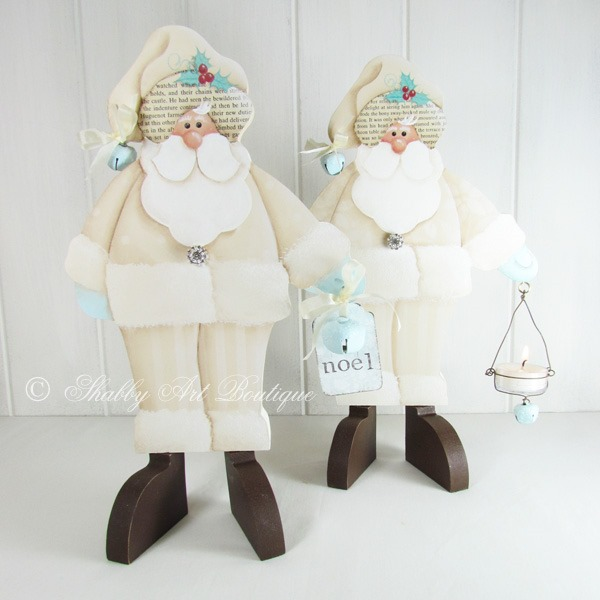If you love a shabby white Christmas, check out these gorgeous white vintage santa E-patterns from Shabby Art Boutique. Using a combination of both decorative painting and papercraft techniques, you can create beautiful handmade Christmas decorations to decorate your home or give as gifts