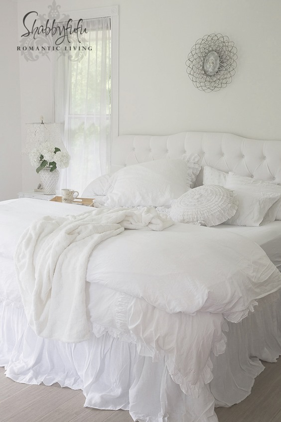 Shabbilicious Sunday features Shabbyfuf -white-bedroom-style. Click now to visit Shabby Art Boutique for more or PIN to visit later.