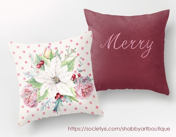 Love this new Christmas pillow duo in my Society6 shop at https://society6.com/shabbyartboutique