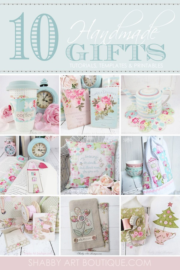10 gorgeous cottage and shabby chic handmade gift tutorials by Shabby Art Boutique. Click to get full step-by-step instructions, pattern templates and printables. PIN for use later on.