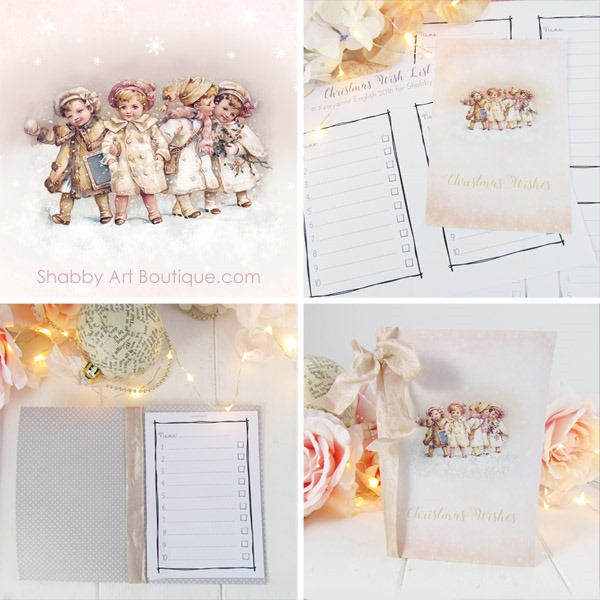 10 minute DIY - Christmas Wish List folder by Shabby Art Boutique. Click to download vintage printable.