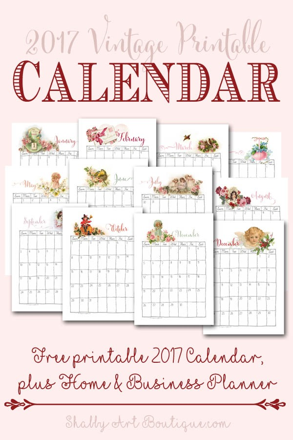 Free 2017 vintage printable calendar by Shabby Art Boutique
