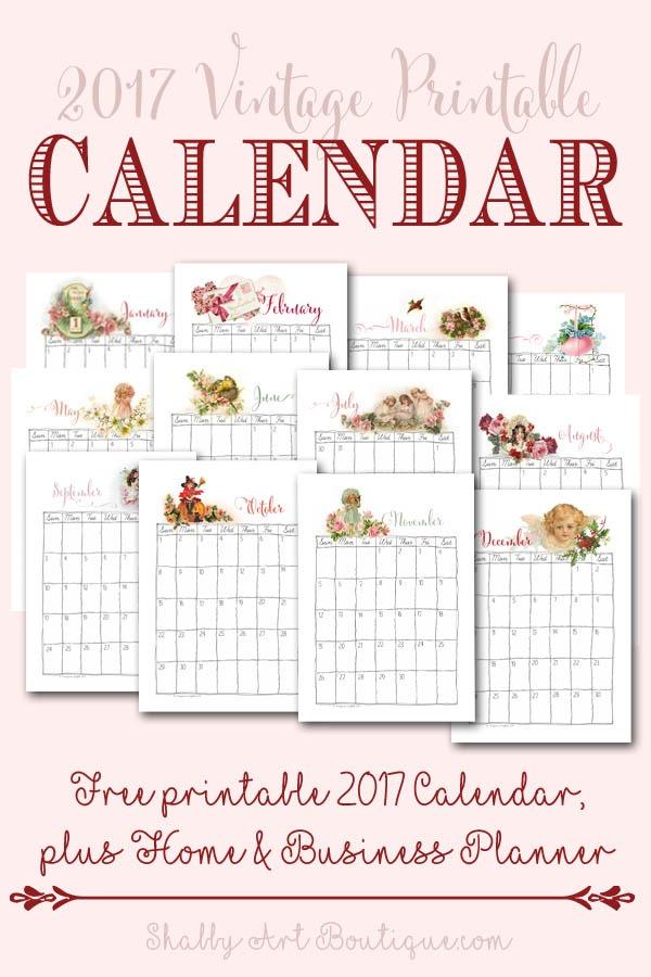 Vintage Calendar Art : Free vintage printable calendar shabby art boutique